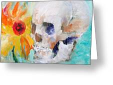 Skull And Sunflower Greeting Card by Fabrizio Cassetta