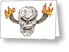 Skull With Exhaust Pipes And Flames Greeting Card by Karen Sirard