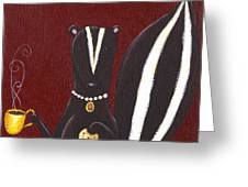 Skunk With Coffee Greeting Card by Christy Beckwith