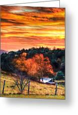Sky Ablaze - Blue Ridge Sunrise II Greeting Card by Dan Carmichael