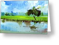 Sky N Farmland Greeting Card by Anil Nene