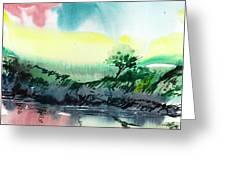 Sky N Lake Greeting Card by Anil Nene