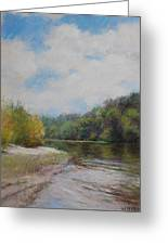 Sky River Trees  Greeting Card by Nancy Stutes
