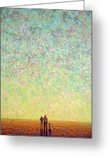 Skywatching In A Painting Greeting Card by James W Johnson