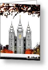 Slc White N Red Temple Greeting Card by La Rae  Roberts