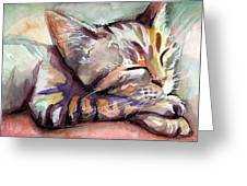Sleeping Kitten Greeting Card by Olga Shvartsur