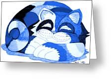 Sleepy Blue Cat Greeting Card by Nick Gustafson