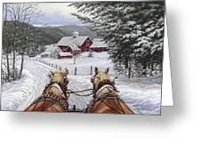 Sleigh Bells Greeting Card by Richard De Wolfe
