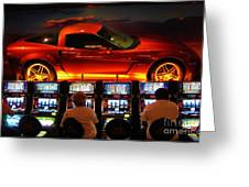 Slots Players In Vegas Greeting Card by John Malone