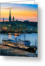 Slussen By Night Greeting Card by Inge Johnsson