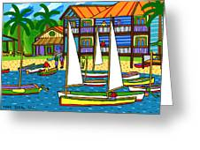 Small Boat Regatta - Cedar Key Greeting Card by Mike Segal