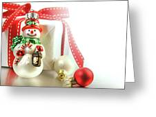 Small Christmas Ornament With Gift Greeting Card by Sandra Cunningham