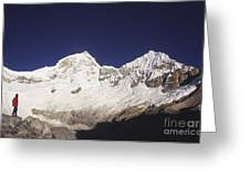 Small Climber Big Peaks Greeting Card by James Brunker