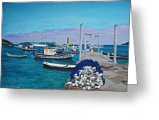 Small Pier In The Afternoon-buzios Greeting Card by Chikako Hashimoto Lichnowsky