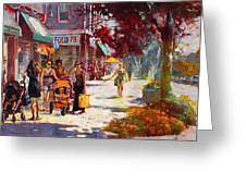 Small Talk in Elmwood Ave Greeting Card by Ylli Haruni
