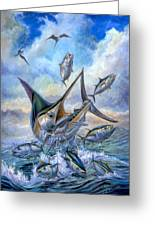 Small Tuna And Blue Marlin Jumping Greeting Card by Terry Fox