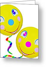 Smiley Face Balloons Greeting Card by Susan Leggett