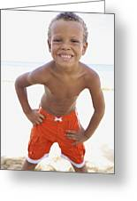Smiling Boy On Beach Greeting Card by Kicka Witte