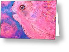 Smiling Pink Fish With Bubbles Greeting Card by Anne-Elizabeth Whiteway