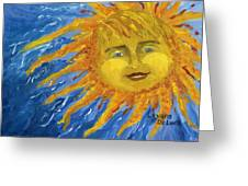 Smiling Yellow Sun In Blue Sky Greeting Card by Lenora  De Lude