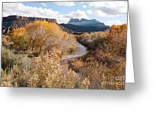 Smithsonian Butte And Early Snows Along The Virgin River Utah Greeting Card by Robert Ford