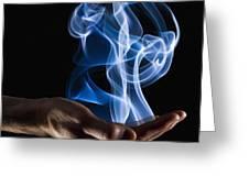 Smoke Wisps From A Hand Greeting Card by Corey Hochachka