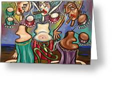 Smoking Belly Dancers Greeting Card by Anthony Falbo