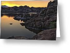 Smoky Sunset on Watson Lake Greeting Card by Dave Dilli