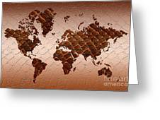 Snake Skin World Map Greeting Card by Zaira Dzhaubaeva