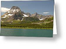 Snow And Water In Glacier National Park Greeting Card by Larry Moloney