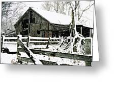 Snow Covered Barn Greeting Card by Kimberleigh Ladd
