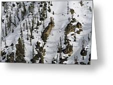 Snow-covered Canyon Walls In Yellowstone National Park Greeting Card by Bruce Gourley