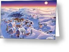 Snow Covered Village Greeting Card by Robin Moline