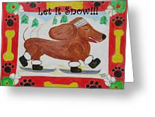 Snow Dog Greeting Card by Diane Pape