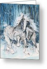 Snow Horses Greeting Card by Mary Armstrong