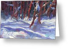 Snow Laden - Winter Snow Covered Trees Greeting Card by Talya Johnson
