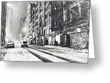 Snow - New York City - Winter Night Greeting Card by Vivienne Gucwa