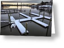 Snow On The Docks Greeting Card by Eric Gendron