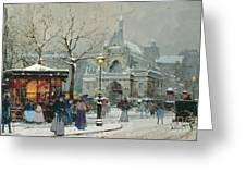 Snow Scene In Paris Greeting Card by Eugene Galien-Laloue