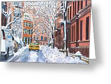 Snow West Village New York City Greeting Card by Anthony Butera