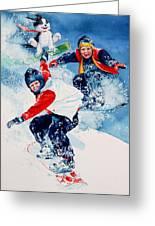 Snowboard Super Heroes Greeting Card by Hanne Lore Koehler