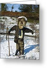 Snowcapped Scarecrow Greeting Card by Anne Gilbert