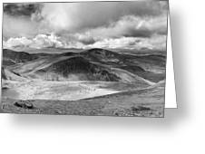 Snowdonia Panorama In Black And White Greeting Card by Jane Rix