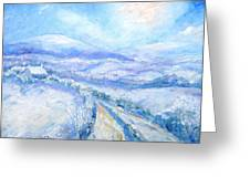Snowfall On The Laneway  Greeting Card by Trudi Doyle