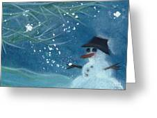 Snowman By Jrr Greeting Card by First Star Art
