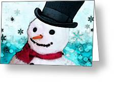Snowman Christmas Art - Frosty Greeting Card by Sharon Cummings