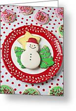 Snowman Cookie Plate Greeting Card by Garry Gay