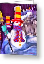 Snowman Greeting Card by George Rossidis