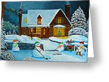 Snowmans Hockey Greeting Card by Anthony Dunphy