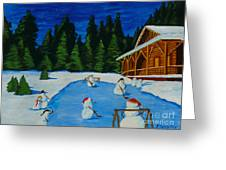 Snowmans Hockey Two Greeting Card by Anthony Dunphy